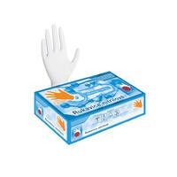 Nitrilové rukavice 100 ks (nepudrované, bílé) M