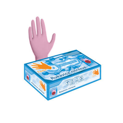 Nitrilové rukavice 100 ks (nepudrované, růžové) L - 1