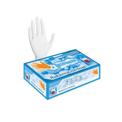 Nitrilové rukavice 100 ks (nepudrované, bílé) S